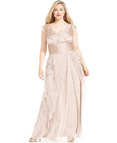 Adrianna Papell Plus Size Dress, Sleeveless Tiered Empire Waist ...