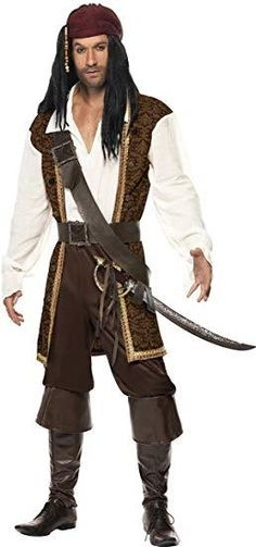 Brown pirate costume for men : This pirate outfit for men consists of a top, trousers, belt, bandana and weapon holder (sword and boots not included). A long brown jacket is sewed to the. Halloween Costume Accessories, Cute Halloween Costumes, Halloween Fancy Dress, Adult Costumes, Adult Halloween, Pirate Costumes, Men's Costumes, Halloween Gifts, Halloween Party