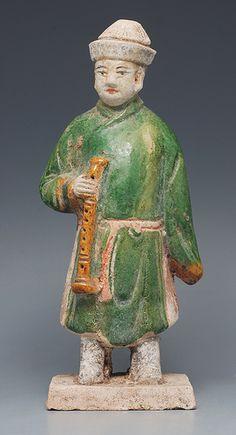 Ming Dynasty Glazed Musician Figurine