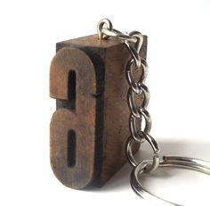 letterpress keychain vintage 1920's number 6 wood stamp printers block old antique printing patina small mini miniature authentic aged six by RecycleBuyVintage on Etsy