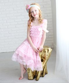 Look what I found on #zulily! Light Pink Chiffon Lace A-Line Dress - Infant, Toddler & Girls #zulilyfinds