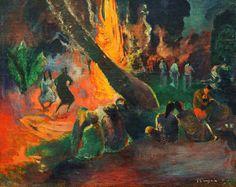 L'approccio creativo di Gauguin era particolare: prima elaborava un pensiero, un'idea; poi tentava di esprimerla e di ingabbiarla con un simbolo. Qui un dipinto mistico ed esotico di una civiltà sconosciuta. Una danza rituale attorno a un fuoco, 1892 ca.