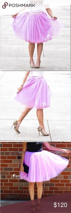 Host Pick! C'estCa NY lilac tulle skirt The Clarissa is the highest quality signature tulle skirt. This skirt is a custom order. It has been hand crafted in New York just for you! Handmade with 6 layers of beautiful lilac tulle and 1 layer Full lining. Stretch waist. Small fits size 0-6, Medium fits size 8-14, Large fits through sizes 16-22. Please note these skirts have a higher MSRP than the Claire due to the added layers used to create the fullness and fluffiness of the Clarissa skirt…