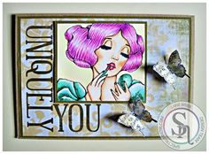 Designed by Laine.  Spectrum Noir markers/pencils: Skin: FS2, FS4, FS8, TN3, + 01, 05, 09, 32, 86 Hair: PP3, PP4, BP3, LV2, + 32, 38, 82, 120 Clothes: GT1, GT2, GT3, 45, 65, 120 Spectrum Noir Sparkle pens: Pink Champagne, Inpired Violet, Crystal Clear #Spectrum Noir #ADayForDaisies #Vintage