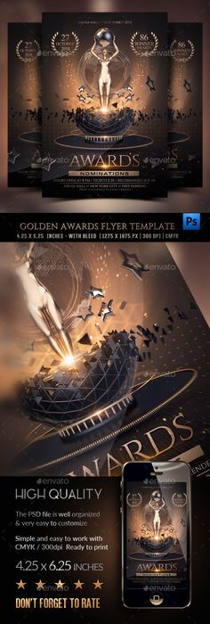Golden Awards #Flyer Template - Clubs & Parties Events