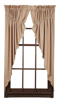 I love the look of our Cheston Scalloped Lined Prairie Curtains! Very country and very primitive...two things I love. The heirloom fabric features a burgundy and creme ticking material that will complete any room in your home. http://www.primitivestarquiltshop.com/Cheston-Scalloped-Lined-Prairie-Curtains_p_10039.html
