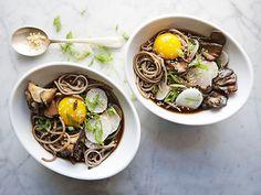 Soba and Maitake Mushrooms in Soy Broth Recipe | Epicurious.com