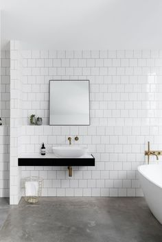 A concrete bathroom floor may feel like a bold choice — but in many homes, it's the right one. So grab your checkbook: These 10 photos are picture-perfect proof that it's time for a small bathroom reno. Concrete Bathroom, Bathroom Floor Tiles, Bathroom Wall, Small Bathroom, Bathroom Ideas, Bathroom Faucets, Shower Tiles, Bathroom Organization, Bathroom Storage