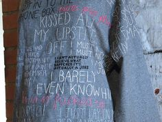 stitched lettering / words