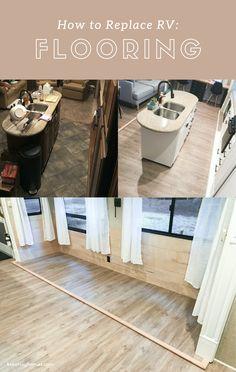 Camper Flooring, Wood Flooring, Floors, Bungalow, Brown Leather Couch Living Room, Diy Camper, Camper Hacks, Rv Campers, Rv Hacks