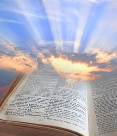 Photo about Photo of sun rays shining through pages of the bible depicting spiritual light. Image of background, images, holy - 32996572 Light Vs Dark, Blue Sky Background, Prophetic Art, Christian Wallpaper, Biblical Art, Bear Wallpaper, Light Of The World, Christian Art, Religious Art