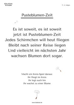 Bildergebnis für löwenzahn gedicht kindergarten