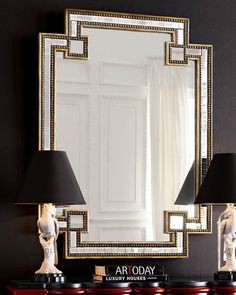 John-Richard collection, mosaic mirror, $695 at Neimans... DIY idea... How would I enhance mirror with gold leaf edges, studs, etc?