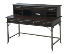Home Styles Bordeaux Executive Desk and Hutch Home Office Desks, Home Office Furniture, Kitchen Furniture, Metal Drawers, Storage Drawers, Desk Shelves, Home Kitchens, Bordeaux, Espresso