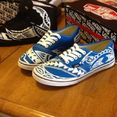 Vans shoes hand painted polynesian  Tribal designs. Made by sifa heimuli