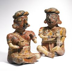 Nayarit Seated Couple, Ixtlán del Rio style Protoclassic, ca. 100 B.C.-A.D. 250  A youthful couple engaged in a feasting ceremony Heights: 15 1/4 in and 15 in (38.7 cm and 38.2 cm)                                                              ...