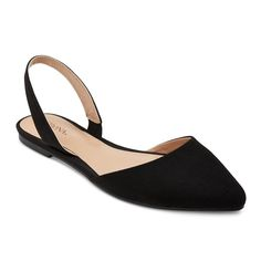 Women's Kathy Pointed Toe Slingback Ballet Flats - Black 6.5