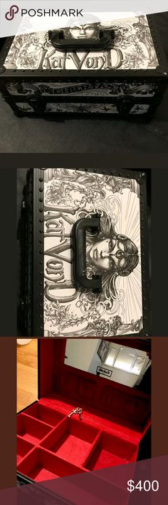 Kat Von D train case Kat Von D Adorna makeup train case. The case is in perfect condition, it mostly just sat. Very rare and hard to find in this condition with keys. It still has both keys and lock works perfectly. Open to reasonable offers.Will trade this for large makeup lot, VS PINK large or high-end bag. This is the cheapest one on here by quite a bit. My trade value on this is 550$ the price that they are going for on here. Kat Von D Makeup