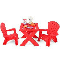 Plastic Children Play Table Chair Set Durable Easy to Clean Surface Red Kids Table Chair Set, Desk And Chair Set, Play Table, Kid Table, Table 19, Toddler Furniture Sets, Children Furniture, Toddler Rooms, Drawing For Kids