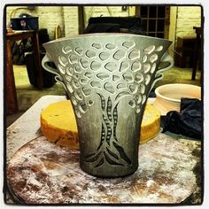Sixteen days to show time. #pottery #carving #clay #countingdown #lofi #photooftheday #hamiltonwilliams #nc