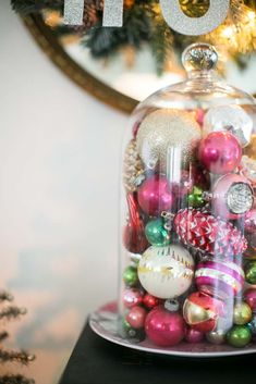 Vintage Ornaments In A Glass Cloche