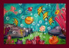 """Painel em lona, para á barraca  de Pescaria ,"""" Fundo do mar"""""""