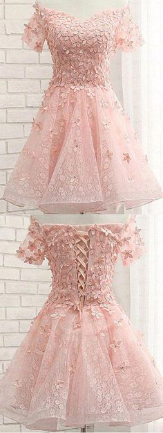 Pink Off Shoulder Short Sleeves Lace Beading Appliques Short Prom Dress,482 #homecomingdressespretty