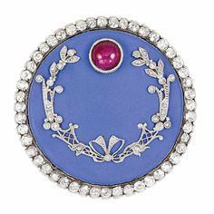 Antique Russian Gold, Silver, Periwinkle Blue Enamel, Cabochon Ruby and Diamond Brooch, Faberge