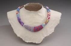 Bright Cobblestone Necklace - polymer veneers and swiveling microfastners