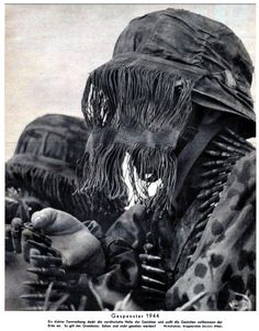 Waffen-SS machine gunners wearing camouflage face veils. Incorrectly deemed 'sniper veils' by collectors the Waffen-SS issued these indiscriminate of any specialty for the sole purpose of effective camouflage. The Germans made heavy use of camouflage clothing during WW2. More so than any other Army of the time.