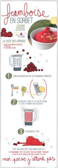 Sorbet Framboise - Recette - Petits Béguins Vegetarian Recipes, Cooking Recipes, Frozen Yoghurt, Frozen Desserts, Food Illustrations, Diy Food, Cooking Time, Summer Recipes, Kids Meals