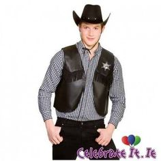 NEW Black Sheriff Cowboy Waistcoat - Mens Wild West Western Fancy Dress Costume Best Fancy Dress Costumes, Fancy Dress Up, Halloween Fancy Dress, Halloween Costumes, Fun Costumes, Costume Shop, Celebrities, Sheriff, Jackets