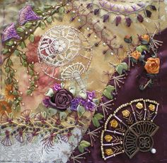 I ❤ crazy quilting beading & ribbon embroidery . . . Cobi's fab fans DYB. ~By Jo in NZ