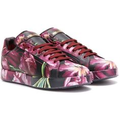 Dolce & Gabbana Printed Leather Sneakers ($1,055) ❤ liked on Polyvore featuring shoes, sneakers, purple, leather shoes, genuine leather shoes, leather footwear, leather sneakers and purple shoes
