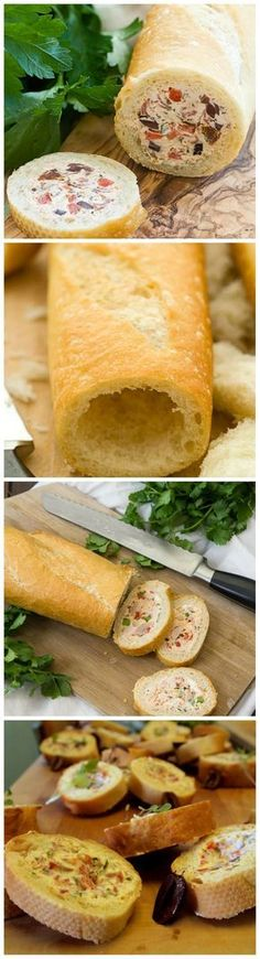 Filled baguette - easy party food and great for a picnic *** Stuffed baguet . Filled baguette - easy party food and great for a picnic *** Stuffed baguette for garden party or picnic In modern citie. Stuffed Baguette, Stuffed Bread, Baguette Recipe, Cooking Recipes, Healthy Recipes, Snacks, Appetisers, Creative Food, Appetizer Recipes