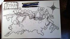 Draft version of my map for my fantasy short stories.