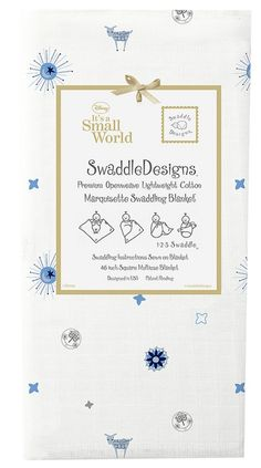 "Swaddle Designs ""Small World- True Blue ""Suns + Lambs"""" Marquisette Swaddling Blanket"