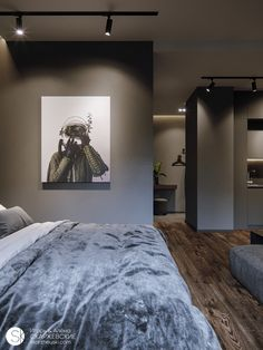 Architech ON THE DARK SIDE. Small apartment in Minsk on Behance To find the plants that will make th Elegant Bedroom Design, Elegant Home Decor, Industrial Bedroom Design, Small Room Design, Home Room Design, Modern Small Apartment Design, Interior Design Career, Bedroom Setup, Dark Interiors