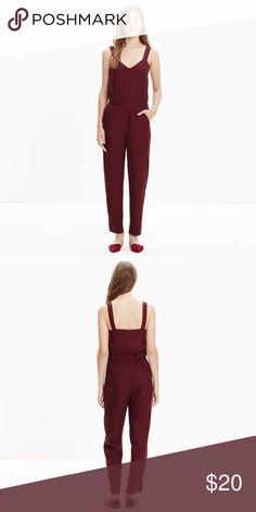 "Madewell Maroon Jumpsuit Maroon in color with small navy 'X' print | soft | I am 5'4"" and it comes right to my ankles 