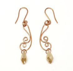 champagne copper wire earrings, handmade, wire design, copper, copper earrings, teardrop beads, wire earrings, dangle earrings, champagne earrings, teardrop earrings, wire teardrop earrings, Javi's Wire, nickel free, glass beads, 2 inches, earrings, 07