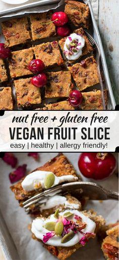 Nut Free Vegan Fruit Slice - a #glutenfree healthier sweet treat loaded with dried fruit, banana, coconut flour and tahini. So yum! #vegan #fruitcake #nutfree