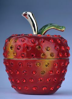 Faberge Apple trinket box by Keren Kopal Swarovski Crystal