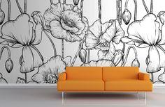 Black and White Illustrated Flowers Mural | MuralsWallpaper.co.uk