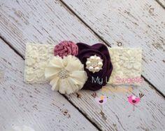 Artículos similares a Lavender White and Teal Wool Felt Butterfly Trio Headband en Etsy
