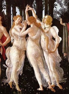 "The Horae { goddesses of the seasons} ""hours""; daughters of Zeus and Themis  [Thallo, Auxo and Carpo. Later known as Eunomia, Dike and Eirene]"