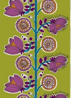 Erja Hirvi for Marimekko, Kissanminttu fabric. Photo by: Copyright Marimekko Corporation Textiles, Textile Patterns, Textile Prints, Flower Patterns, Flower Designs, Print Patterns, Pattern Paper, Pattern Art, Pattern Design