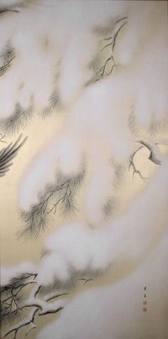"""thewoodbetween: """"Kodama Kibō(児玉希望 Japanese, 1898-1971) from a Pair of Screen Paintings of Magpies & Snow 1926-1936 Mineral pigments, gofun and sumi ink on gold washed paper. """""""