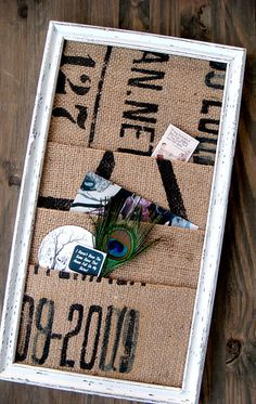 wall organizer- love the burlap pockets- maybe label each pocket