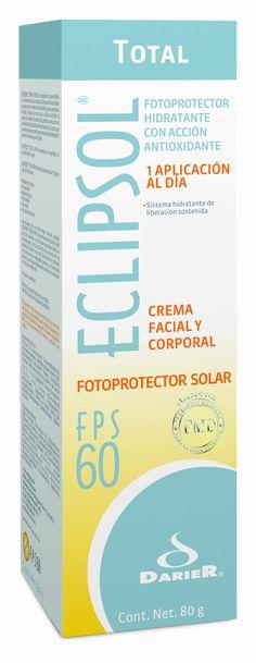 Eclipsol Total - Primer Fotoprotector de una aplicación al día que gracias a sus componentes hidrata y tiene una acción antioxidante.    - Ideal para personas de todo tipo de piel  •Protector solar que actúa por 8 horas continuas  •Ayuda a mantener la piel hidratada  •FPS 60 (Factor de Protección Solar)