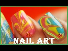 Jan 2020 - Suzie creates a spectacularly colorful Water Marble Nail Art Design in this detailed Step By Step Tutorial. Protect/Cover Your Skin Get the Water Apply Coat of White Polish to Nails Open Polish Bottl Marble Nail Designs, Nail Art Designs, Nail Art Diy, Diy Nails, Marble Nails Tutorial, Water Marble Nail Art, Water Art, Nailart, American Nails